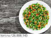 Купить «Tabbouleh salad easy and healthy classic recipe», фото № 26888143, снято 24 августа 2019 г. (c) Oksana Zh / Фотобанк Лори