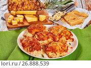 Купить «chicken sliced breast meat baked in oven», фото № 26888539, снято 10 июля 2020 г. (c) Oksana Zh / Фотобанк Лори