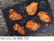 Купить «grilled pork chops with strips, close-up», фото № 26888727, снято 19 декабря 2018 г. (c) Oksana Zh / Фотобанк Лори