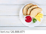 Купить «Gefilte minced carp fillets with horseradish sauce», фото № 26888871, снято 27 апреля 2017 г. (c) Oksana Zh / Фотобанк Лори