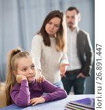 Купить «Parents lecturing daughter», фото № 26891447, снято 19 марта 2019 г. (c) Яков Филимонов / Фотобанк Лори