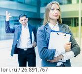 Купить «Female employee is upset with the reprimand of boss», фото № 26891767, снято 20 августа 2017 г. (c) Яков Филимонов / Фотобанк Лори