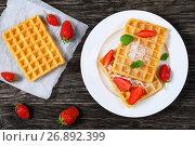Купить «Belgian waffles with strawberries», фото № 26892399, снято 13 июня 2017 г. (c) Oksana Zh / Фотобанк Лори