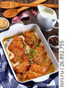Купить «appetizing Rabbit Cooked in mustard sauce», фото № 26892755, снято 13 июля 2020 г. (c) Oksana Zh / Фотобанк Лори