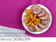 Купить «roasted juicy poultry roulade with potato», фото № 26892979, снято 16 июля 2017 г. (c) Oksana Zh / Фотобанк Лори