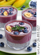 Купить «layered Smoothie with blueberries, chia seeds», фото № 26893027, снято 18 марта 2019 г. (c) Oksana Zh / Фотобанк Лори
