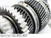 Купить «Steel gears and rolling bearing.», фото № 26893407, снято 23 августа 2017 г. (c) Андрей Радченко / Фотобанк Лори