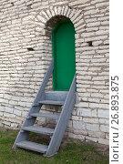 Зеленая металлическая дверь в стене с деревянной лестницей. Стоковое фото, фотограф Кекяляйнен Андрей / Фотобанк Лори