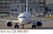 Купить «Airplane taxiing to the start, cockpit close-up», видеоролик № 26906851, снято 17 июля 2017 г. (c) Игорь Жоров / Фотобанк Лори