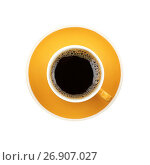 Americano yellow cup and saucer isolated on white. Стоковое фото, фотограф Anton Eine / Фотобанк Лори