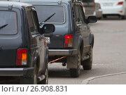 Купить «Auto towing by car with rope tow», фото № 26908831, снято 5 сентября 2017 г. (c) Константин Шишкин / Фотобанк Лори