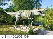 "Купить «KIROV, RUSSIA - AUGUST 30, 2017: Tyrannosaurus Rex in ""Dinopark""», фото № 26908959, снято 30 августа 2017 г. (c) Виктор Карасев / Фотобанк Лори"
