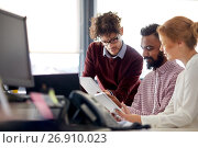 Купить «business team with tablet pc computers in office», фото № 26910023, снято 1 октября 2016 г. (c) Syda Productions / Фотобанк Лори