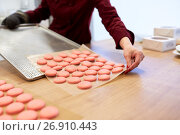 Купить «chef with macarons on oven tray at confectionery», фото № 26910443, снято 8 мая 2017 г. (c) Syda Productions / Фотобанк Лори