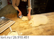Купить «baker portioning dough with bench cutter at bakery», фото № 26910451, снято 15 мая 2017 г. (c) Syda Productions / Фотобанк Лори