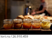 Купить «jars with craft jam or sauce at grocery store», фото № 26910459, снято 16 мая 2017 г. (c) Syda Productions / Фотобанк Лори