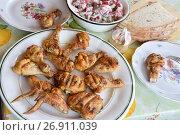 Купить «Шашлык из курицы на тарелке», эксклюзивное фото № 26911039, снято 19 августа 2017 г. (c) Юрий Морозов / Фотобанк Лори