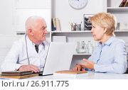 Купить «Woman on consultation with doctor», фото № 26911775, снято 23 октября 2018 г. (c) Яков Филимонов / Фотобанк Лори
