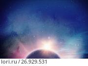 Купить «Composite image of earth with shadow on white background», иллюстрация № 26929531 (c) Wavebreak Media / Фотобанк Лори