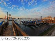 Venetian gondolas at sunrise (2017 год). Стоковое фото, фотограф Михаил Коханчиков / Фотобанк Лори