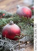 Купить «Christmas background on wooden», фото № 26934131, снято 13 сентября 2017 г. (c) Типляшина Евгения / Фотобанк Лори