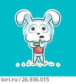 Sticker emoji emoticon emotion watch movie, eat popcorn, vector isolated illustration character sweet, cute white rabbit, bunny, hare, coney, cony, lapin for happy Easter. Стоковая иллюстрация, иллюстратор Maryna Bolsunova / Фотобанк Лори