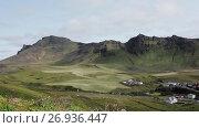 Panorama mountain landscape, Iceland. Стоковое видео, видеограф Юлия Колтырина / Фотобанк Лори