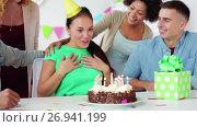 Купить «team greeting colleague at office birthday party», видеоролик № 26941199, снято 6 сентября 2017 г. (c) Syda Productions / Фотобанк Лори
