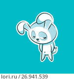 Sticker emoji emoticon, emotion depression, resentment, view from under forehead vector character sweet, cute white rabbit, bunny, hare, coney, cony, lapin for happy Easter. Стоковая иллюстрация, иллюстратор Maryna Bolsunova / Фотобанк Лори