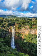 Купить «Chamarel Waterfalls, Black River Gorges National Park, Chamarel, Mauritius. Chamarel Waterfalls are the highest in Mauritius with a drop of more than 80...», фото № 26945363, снято 1 августа 2016 г. (c) age Fotostock / Фотобанк Лори