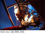 Купить «Starting a balloon engine, Cappadocia, Turkey.», фото № 26946355, снято 21 января 2019 г. (c) age Fotostock / Фотобанк Лори