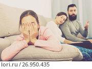 Купить «Parents lecturing daughter», фото № 26950435, снято 19 февраля 2019 г. (c) Яков Филимонов / Фотобанк Лори