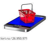 Купить «phone and red shopping basket on white background. Isolated 3d illustration», иллюстрация № 26950971 (c) Ильин Сергей / Фотобанк Лори