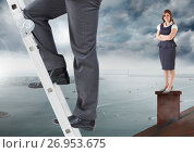 Купить «Businessman climbing ladder and Businesswoman standing on Roof with chimney and cloudy city port», фото № 26953675, снято 20 сентября 2018 г. (c) Wavebreak Media / Фотобанк Лори