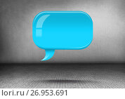Купить «Shiny chat bubble floating in room», иллюстрация № 26953691 (c) Wavebreak Media / Фотобанк Лори