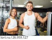 Купить «man and woman fitness coaches in gy», фото № 26959127, снято 16 января 2019 г. (c) Яков Филимонов / Фотобанк Лори