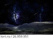 Купить «mountain landscape over night sky or space», иллюстрация № 26959951 (c) Syda Productions / Фотобанк Лори