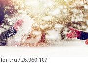 Купить «happy friends playing with snow in winter», фото № 26960107, снято 11 ноября 2016 г. (c) Syda Productions / Фотобанк Лори