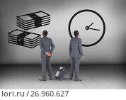 Купить «Money notes and clock time with Businessman looking in opposite directions», фото № 26960627, снято 26 сентября 2018 г. (c) Wavebreak Media / Фотобанк Лори