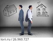 Купить «Two houses with Businessman looking in opposite directions», фото № 26960727, снято 26 сентября 2018 г. (c) Wavebreak Media / Фотобанк Лори