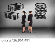 Money notes or coins with Businesswoman looking in opposite directions. Стоковое фото, агентство Wavebreak Media / Фотобанк Лори