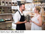 Купить «Seller and customer in store of ecological goods ]», фото № 26962031, снято 16 октября 2018 г. (c) Яков Филимонов / Фотобанк Лори