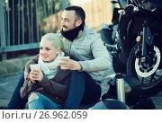 Купить «Young pleasant couple having picnic with coffee», фото № 26962059, снято 18 июля 2018 г. (c) Яков Филимонов / Фотобанк Лори