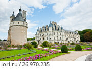 Вид на замок Шенонсо (Château de Chenonceaux) осенним днем. Департамент Эндр и Луара. Франция (2017 год). Редакционное фото, фотограф E. O. / Фотобанк Лори