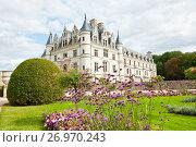 Вид на замок Шенонсо  (фр. Château de Chenonceaux). Департамент Эндр и Луара. Франция (2017 год). Редакционное фото, фотограф E. O. / Фотобанк Лори