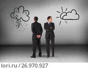 Купить «Rain clouds or sun with Businessman looking in opposite directions», фото № 26970927, снято 26 сентября 2018 г. (c) Wavebreak Media / Фотобанк Лори