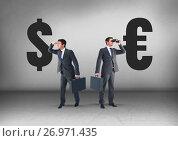 Купить «Dollar or Euro with Businessman looking in opposite directions», фото № 26971435, снято 26 сентября 2018 г. (c) Wavebreak Media / Фотобанк Лори