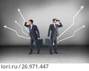 Купить «Left or right crooked direction arrows with Businessman looking in opposite directions», фото № 26971447, снято 13 декабря 2018 г. (c) Wavebreak Media / Фотобанк Лори