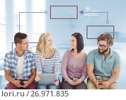 Group meeting and Colorful mind map over bright background. Стоковое фото, агентство Wavebreak Media / Фотобанк Лори