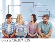 Купить «Group meeting and Colorful mind map over bright background», фото № 26971835, снято 23 октября 2018 г. (c) Wavebreak Media / Фотобанк Лори